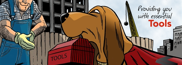 The IMI hound dog, tracker, has a red toolbox in his mouth and is going to provide you with tools for your insurance business